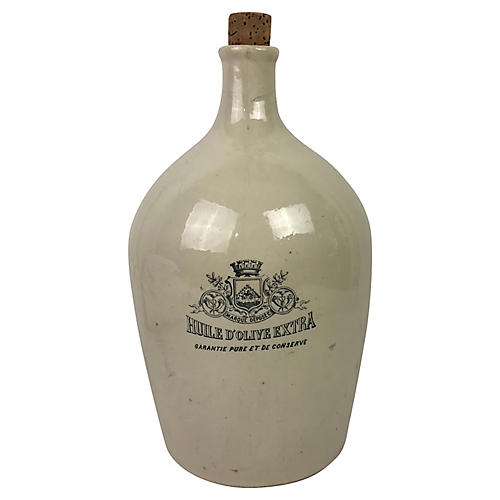 French Stoneware Olive Oil Jug