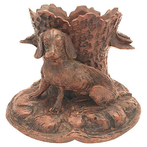 Black Forest Carved Dog Vase