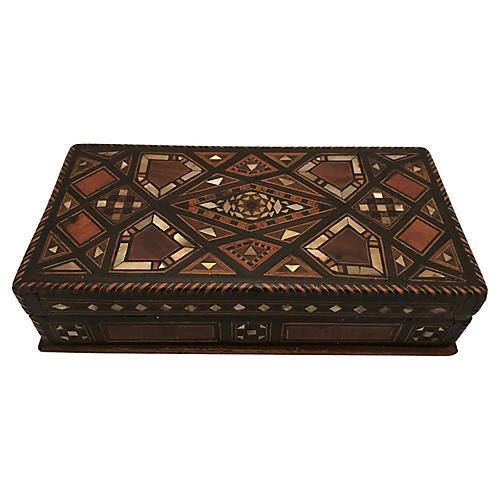 Geometric Inlaid Marquetry Box