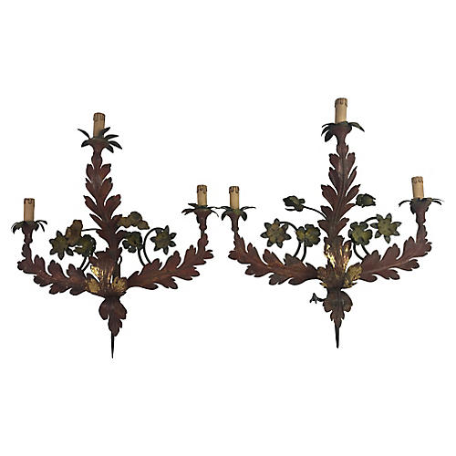 Italian Tole Sconces, Pair