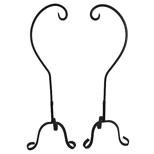 English Iron Butcher's Meat Hooks, Pair