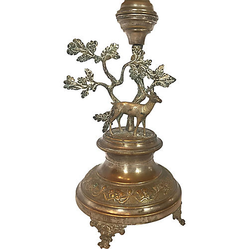 English Silver-Plate Stag Lamp
