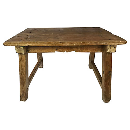 19th-C. Spanish Pine Coffee Table