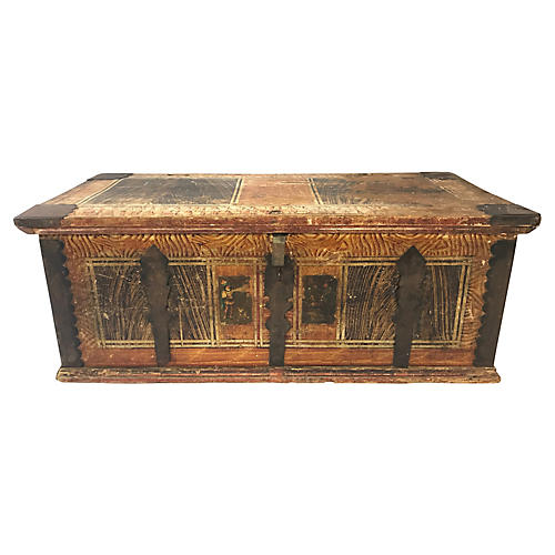 19th-C. French Painted Pine Trunk