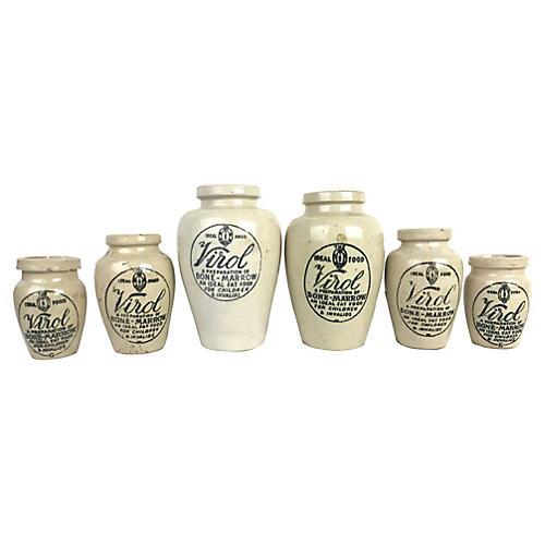 English Advertising Jars, S/6