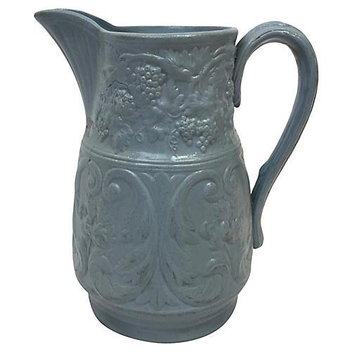 English Blue Salt Glaze Pitcher
