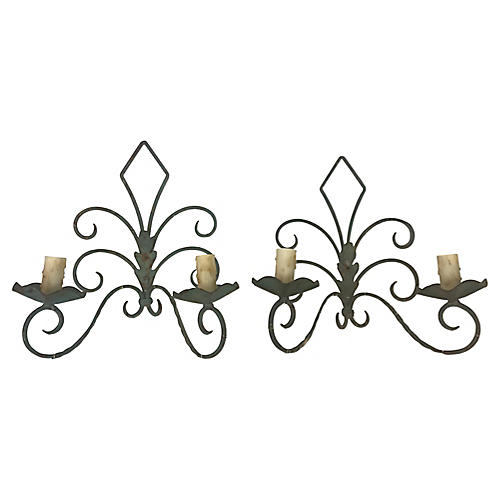 French Iron Sconces, Pair