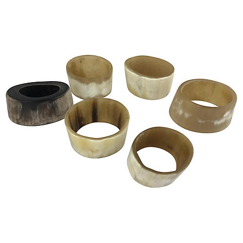 French Horn Napkin Rings, S/6