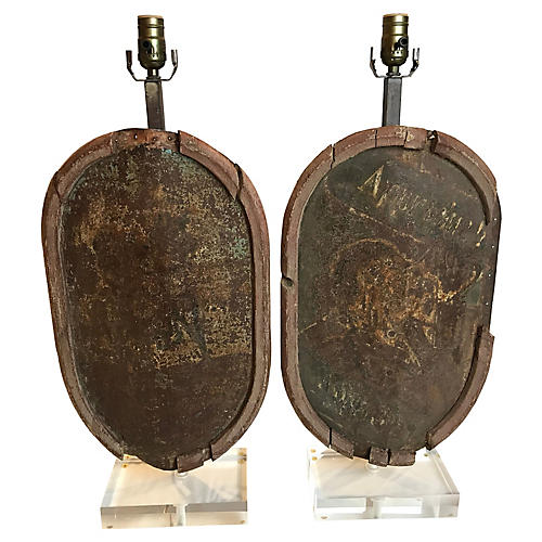 French Carousel Plaque Lamps, Pair