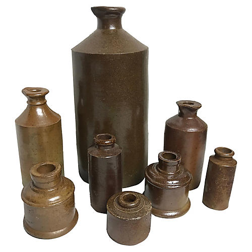 English Stoneware Ink bottles, S/8