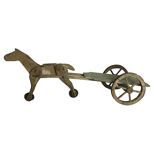 French Toy Horse and Cart