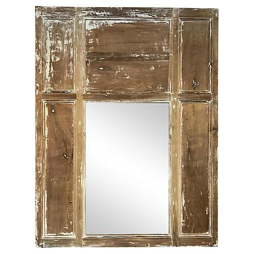 French Scraped Trumeau Mirror