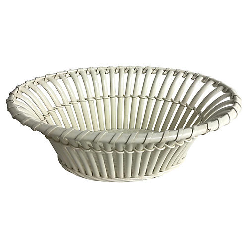 French Creamware Basket-weave Basket