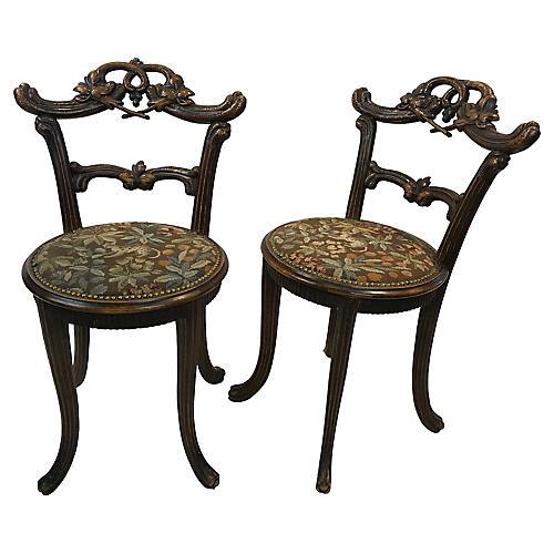 Carved Black Forest Chairs, Pair