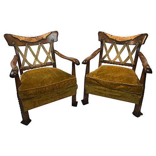 Italian Art Deco Chairs, Pair