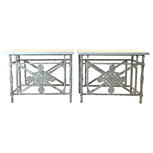 Iron Balconies Made into Consoles, Pair