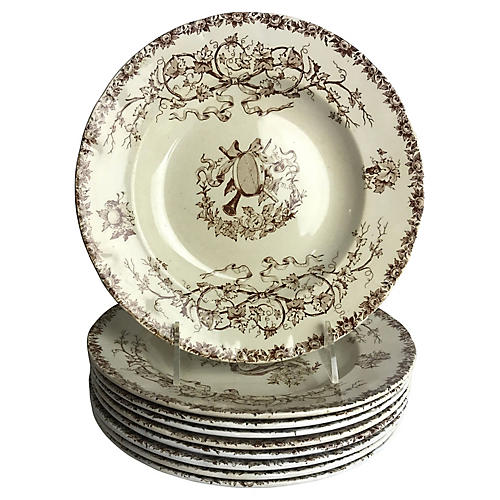 French Transferware Soup Bowls, S/10