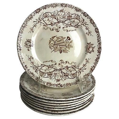 French Transferware Dessert Plates, S/8