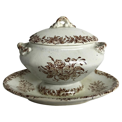 French Transferware Covered Sauce Pot