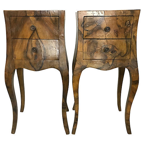 French Olive Wood Side Tables, Pair