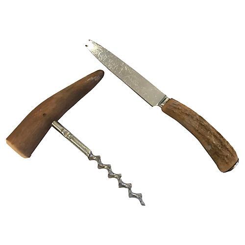Antler Bar Knife & Corkscrew