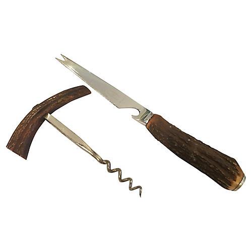 English Antler Bar Knife and Corkscrew