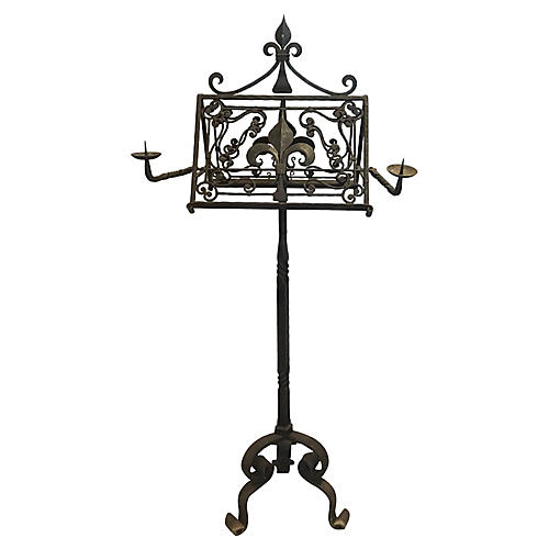 19th-c. French Iron Music Stand