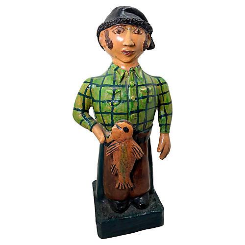 Folk Art Fisherman Sculpture