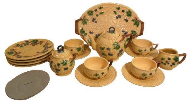 Majolica Tiffany Tea Set, Svc. for 4