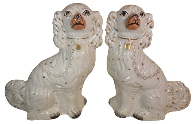 Antique Staffordshire Spaniels, Pair