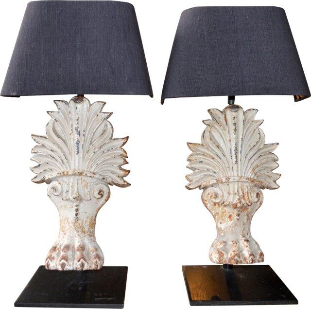 Lion's Paw Fragment Lamps, Pair