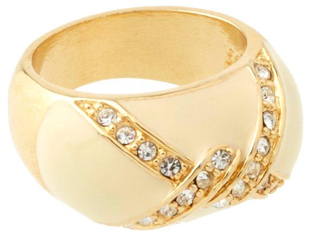 Cream Enamel Rhinestone Ring