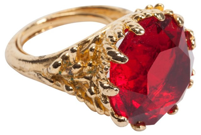 Red Glass Stone Ring