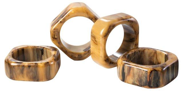 Marbleized Bakelite Napkin Rings, S/4