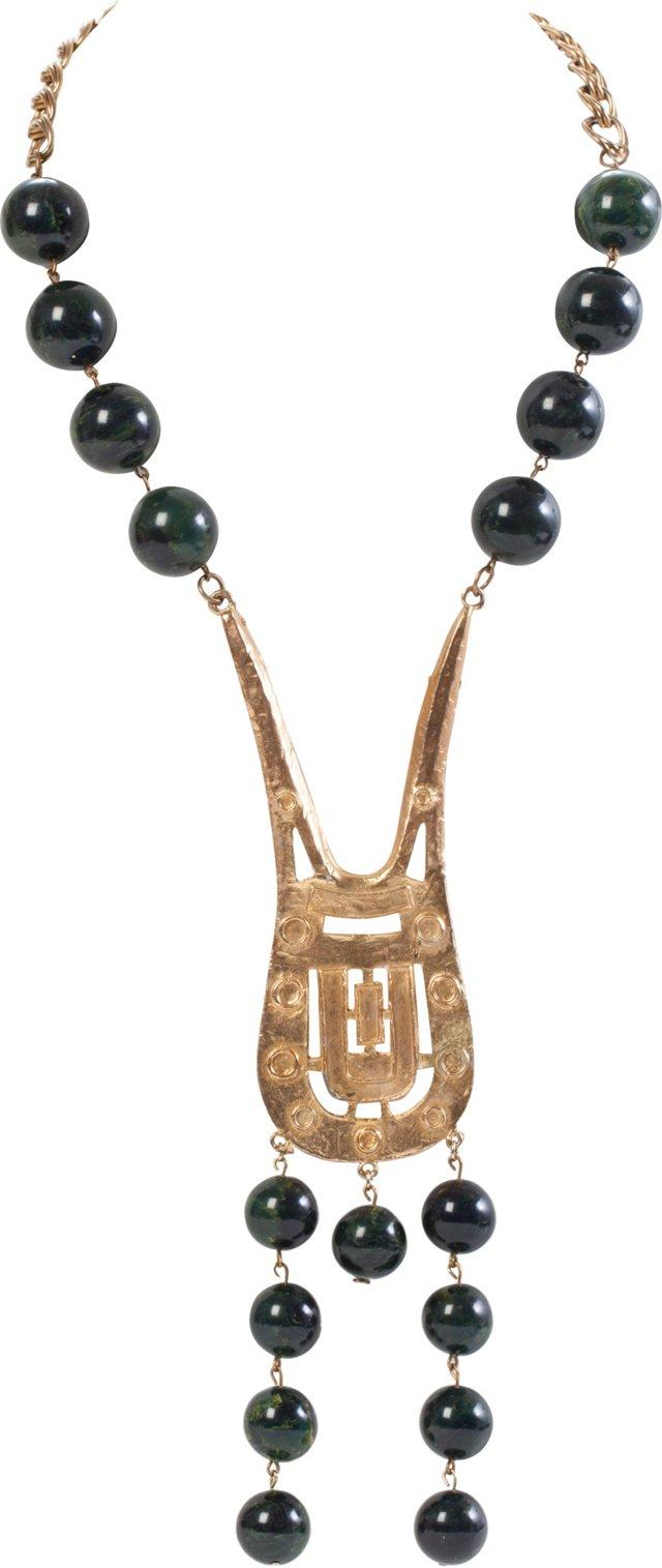 Marbleized Bakelite Beaded Necklace