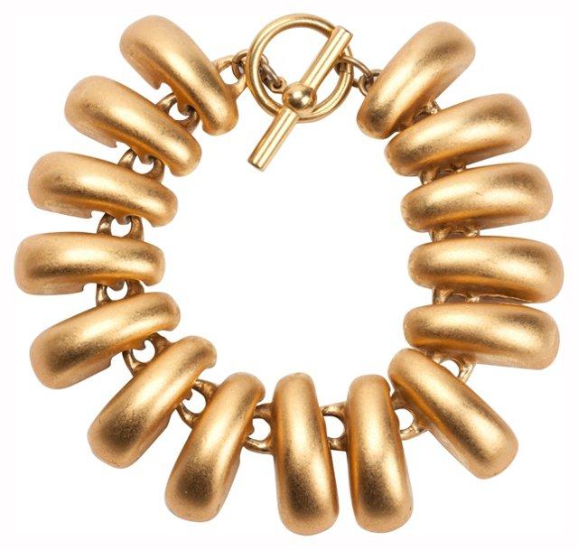 Matte Goldtone Toggle Bracelet