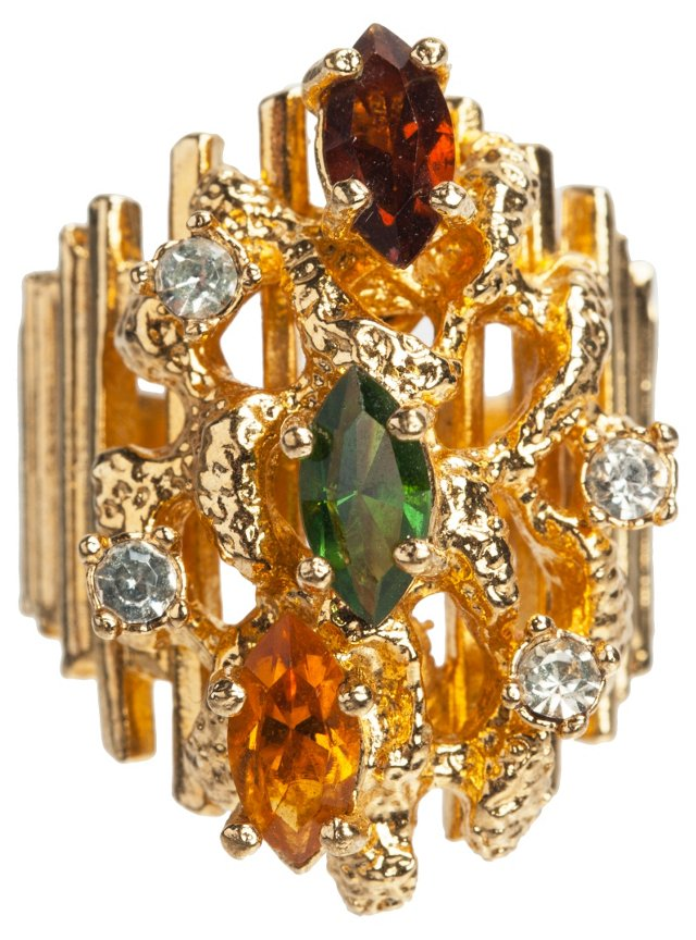 Rhinestone Coral-Style Cluster Ring