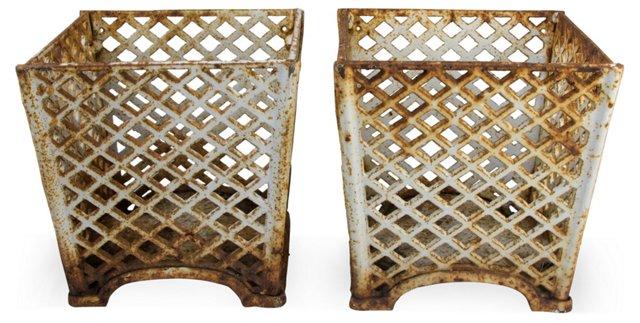 Cast Iron Planters, Pair