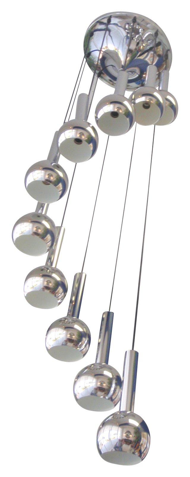 1970s Chrome Spiral Pendant Chandelier