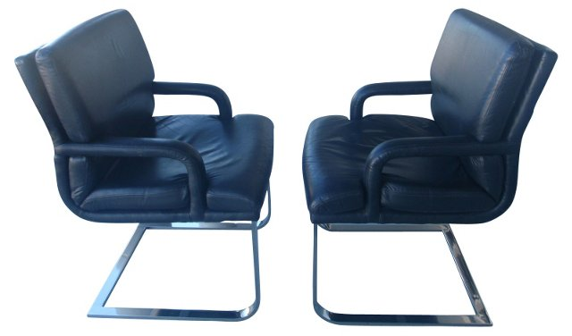 Chrome & Leather   Chairs, Pair