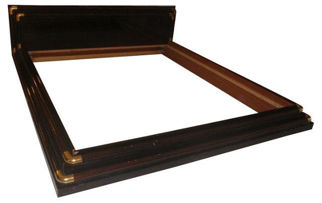 Italian Rosewood & Brass King-Size Bed