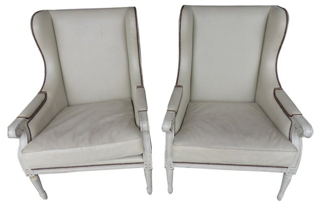Wingback Chairs w/ Nailheads, Pair
