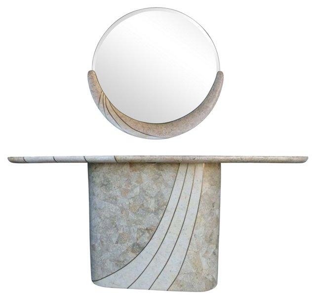 Tessellated Stone Console &  Mirror