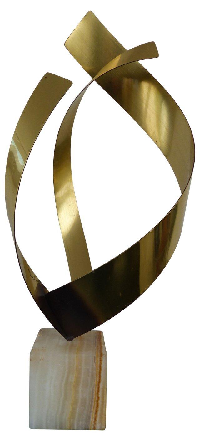 C. Jere Brass & Onyx sculpture