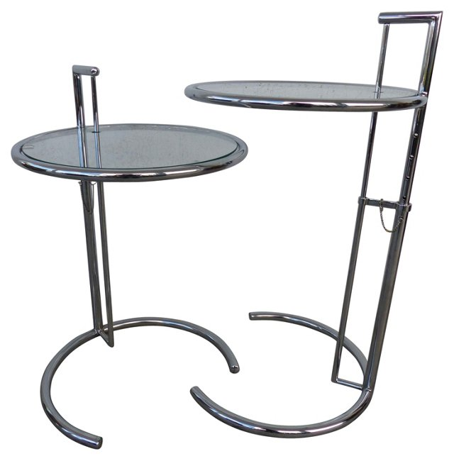Eileen Gray-Style Side Tables, Pair