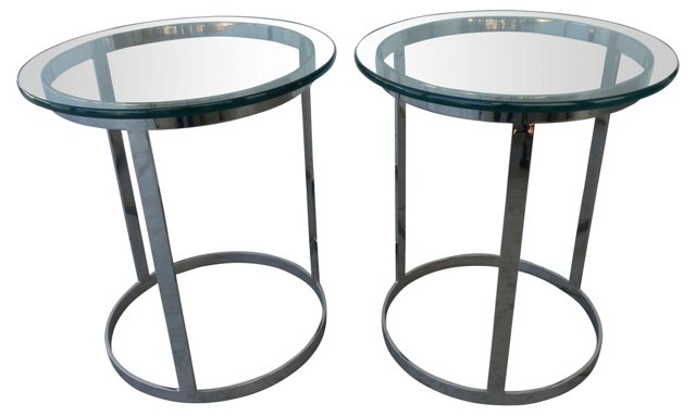 1970s Chrome & Glass Side Tables, Pair