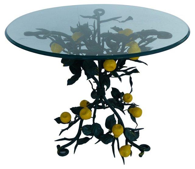 Glass & Iron Table w/ Pear Tree Motif