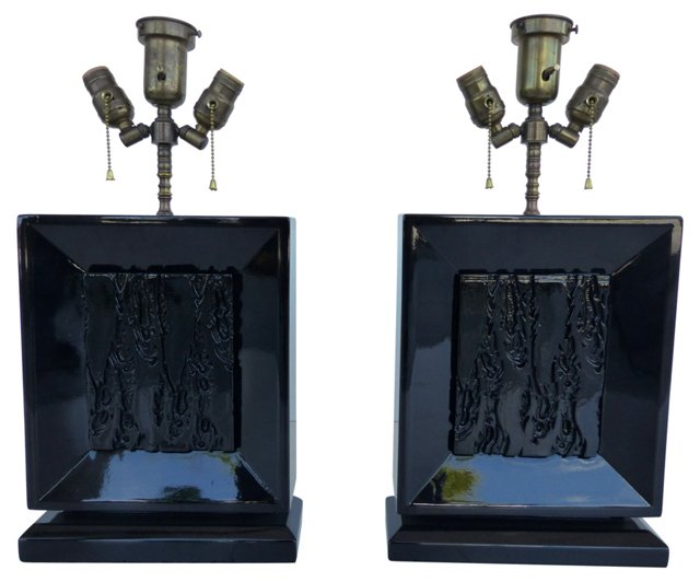 Lacquered Lamps Attr. to James Mont