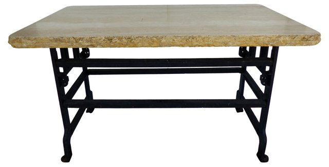 Industrial Iron Table w/ Travertine Top