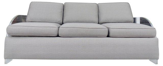 Kagan-Style Sofa w/ Lucite Arms